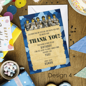 Aspire Designs Personalised Kids Lego Army Birthday Party Thank You Cards 10 / Yes / Design 4
