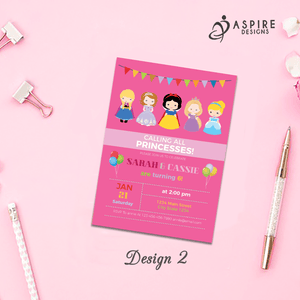 Aspire Designs Personalised Kids Princess Birthday Party Invitations / Joint or Single Party 10 / Yes / Design 2