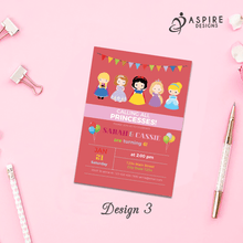 Load image into Gallery viewer, Aspire Designs Personalised Kids Princess Birthday Party Invitations / Joint or Single Party 10 / Yes / Design 3