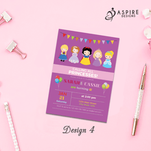 Load image into Gallery viewer, Aspire Designs Personalised Kids Princess Birthday Party Invitations / Joint or Single Party 10 / Yes / Design 4