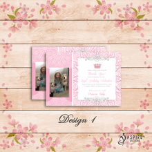 Load image into Gallery viewer, Aspire Designs Personalised Kids Princess Birthday Thank You Cards With Photo 10 / Yes / Design 1
