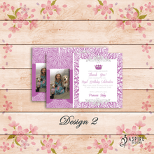 Load image into Gallery viewer, Aspire Designs Personalised Kids Princess Birthday Thank You Cards With Photo 10 / Yes / Design 2