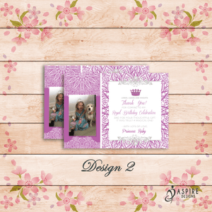 Aspire Designs Personalised Kids Princess Birthday Thank You Cards With Photo 10 / Yes / Design 2