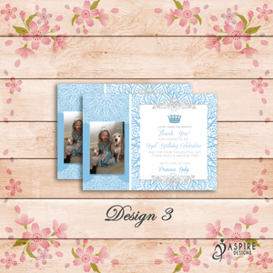 Aspire Designs Personalised Kids Princess Birthday Thank You Cards With Photo 10 / Yes / Design 3