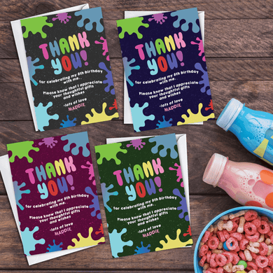 Aspire Designs Personalised Kids Slime Birthday Party Thank You Cards 10 / Yes / Design 1