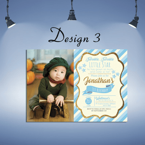 Aspire Designs Personalised Kids Sparkling Invitations Cards | Glitter Party Invites 10 / Yes / Design 3