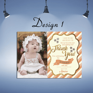 Aspire Designs Personalised Kids Sparkling Thank You Cards  | Glitter Party Thank You Cards 10 / Yes / Design 1