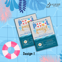Load image into Gallery viewer, Aspire Designs Personalised Kids Splash Swimming Pool Party Birthday Invitations 10 / Yes / Design 1