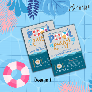 Aspire Designs Personalised Kids Splash Swimming Pool Party Birthday Invitations 10 / Yes / Design 1