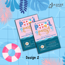 Load image into Gallery viewer, Aspire Designs Personalised Kids Splash Swimming Pool Party Birthday Invitations 10 / Yes / Design 2