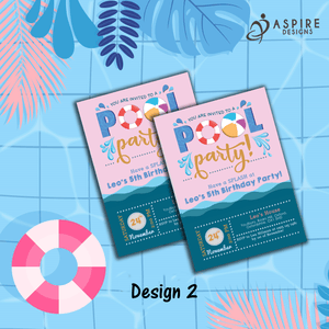 Aspire Designs Personalised Kids Splash Swimming Pool Party Birthday Invitations 10 / Yes / Design 2