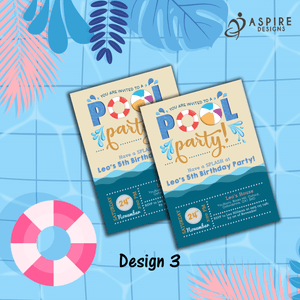 Aspire Designs Personalised Kids Splash Swimming Pool Party Birthday Invitations 10 / Yes / Design 3
