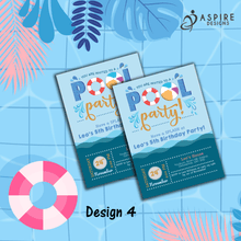 Load image into Gallery viewer, Aspire Designs Personalised Kids Splash Swimming Pool Party Birthday Invitations 10 / Yes / Design 4