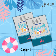 Load image into Gallery viewer, Aspire Designs Personalised Kids Splash Swimming Pool Party Birthday Thank You Cards 10 / Yes / Design 1
