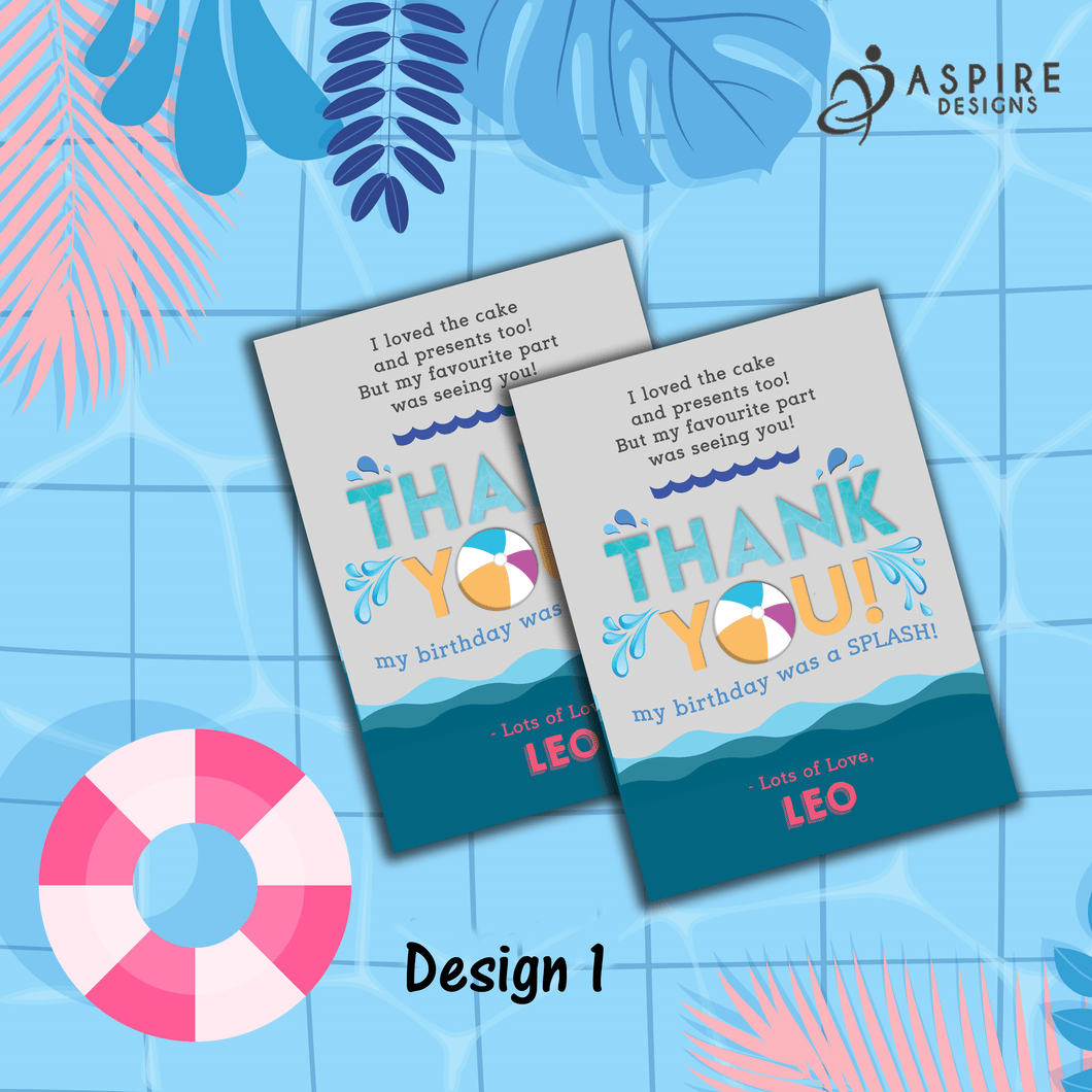Aspire Designs Personalised Kids Splash Swimming Pool Party Birthday Thank You Cards 10 / Yes / Design 1