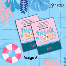 Load image into Gallery viewer, Aspire Designs Personalised Kids Splash Swimming Pool Party Birthday Thank You Cards 10 / Yes / Design 2