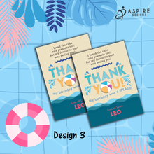 Load image into Gallery viewer, Aspire Designs Personalised Kids Splash Swimming Pool Party Birthday Thank You Cards 10 / Yes / Design 3