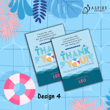 Load image into Gallery viewer, Aspire Designs Personalised Kids Splash Swimming Pool Party Birthday Thank You Cards 10 / Yes / Design 4