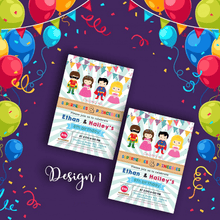 Load image into Gallery viewer, Aspire Designs Personalised Kids Superhero and Princess Birthday Party Invitations 10 / Yes / Design 1