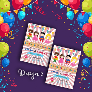 Aspire Designs Personalised Kids Superhero and Princess Birthday Party Invitations 10 / Yes / Design 2