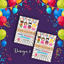Load image into Gallery viewer, Aspire Designs Personalised Kids Superhero and Princess Birthday Party Invitations 10 / Yes / Design 3