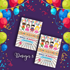 Aspire Designs Personalised Kids Superhero and Princess Birthday Party Invitations 10 / Yes / Design 3
