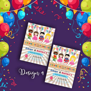 Aspire Designs Personalised Kids Superhero and Princess Birthday Party Invitations 10 / Yes / Design 4