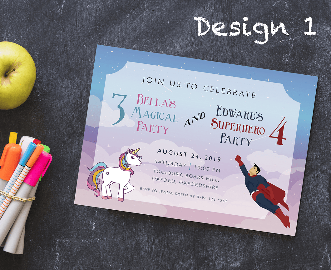 Aspire Designs Personalised Kids Superhero and Unicorn Birthday Party Invitations 10 / Yes / Design 1