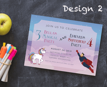Load image into Gallery viewer, Aspire Designs Personalised Kids Superhero and Unicorn Birthday Party Invitations 10 / Yes / Design 2