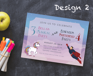 Aspire Designs Personalised Kids Superhero and Unicorn Birthday Party Invitations 10 / Yes / Design 2