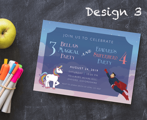 Aspire Designs Personalised Kids Superhero and Unicorn Birthday Party Invitations 10 / Yes / Design 3