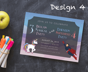 Aspire Designs Personalised Kids Superhero and Unicorn Birthday Party Invitations 10 / Yes / Design 4