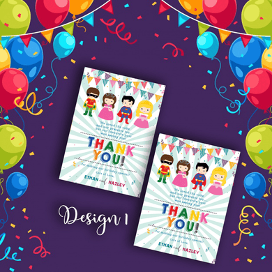 Aspire Designs Personalised Kids Superhero & Princess Birthday Thank You Cards 10 / Yes / Design 1