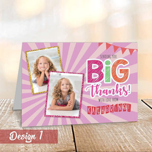 Aspire Designs Personalised Kids Thank You Cards with Childrens Photos | Pack of A6 (Folded) 1 / No / Yes