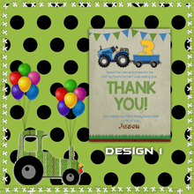 Load image into Gallery viewer, Aspire Designs Personalised Kids Tractor Birthday Party Thank You Cards 10 / Yes / Design 1