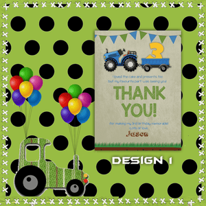 Aspire Designs Personalised Kids Tractor Birthday Party Thank You Cards 10 / Yes / Design 1