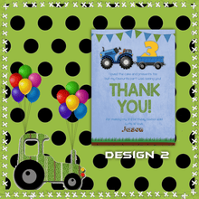 Load image into Gallery viewer, Aspire Designs Personalised Kids Tractor Birthday Party Thank You Cards 10 / Yes / Design 2