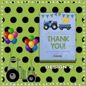 Aspire Designs Personalised Kids Tractor Birthday Party Thank You Cards 10 / Yes / Design 2