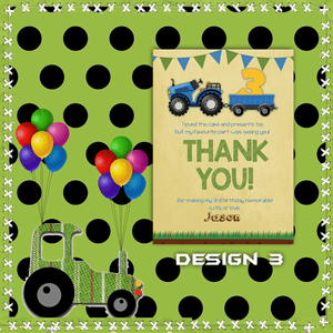 Aspire Designs Personalised Kids Tractor Birthday Party Thank You Cards 10 / Yes / Design 3