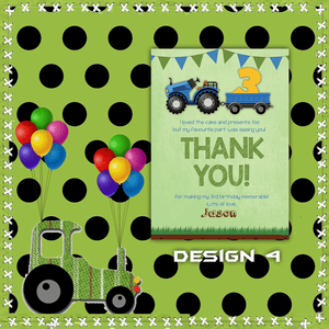 Aspire Designs Personalised Kids Tractor Birthday Party Thank You Cards 10 / Yes / Design 4