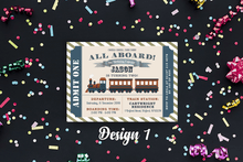 Load image into Gallery viewer, Aspire Designs Personalised Kids Train Birthday Party Invitations 10 / Yes / Design 1