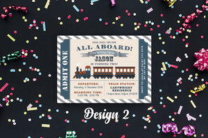 Aspire Designs Personalised Kids Train Birthday Party Invitations 10 / Yes / Design 2
