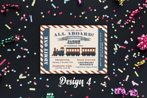 Aspire Designs Personalised Kids Train Birthday Party Invitations 10 / Yes / Design 4