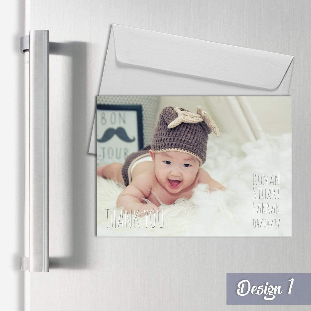Aspire Designs Personalised Magnetic New Baby Thank You Cards | A6 Fridge Magnets 1 / Yes