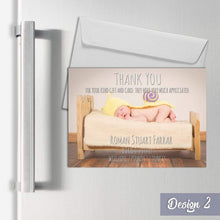 Load image into Gallery viewer, Aspire Designs Personalised Magnetic New Baby Thank You Cards | A7 Fridge Magnets 1 / Yes
