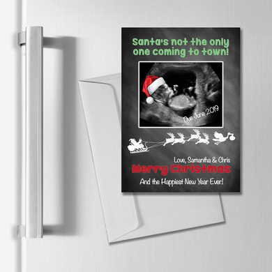Aspire Designs Personalised Magnetic Pregnancy Announcement Cards A6 Xmas Photo 1 / Yes
