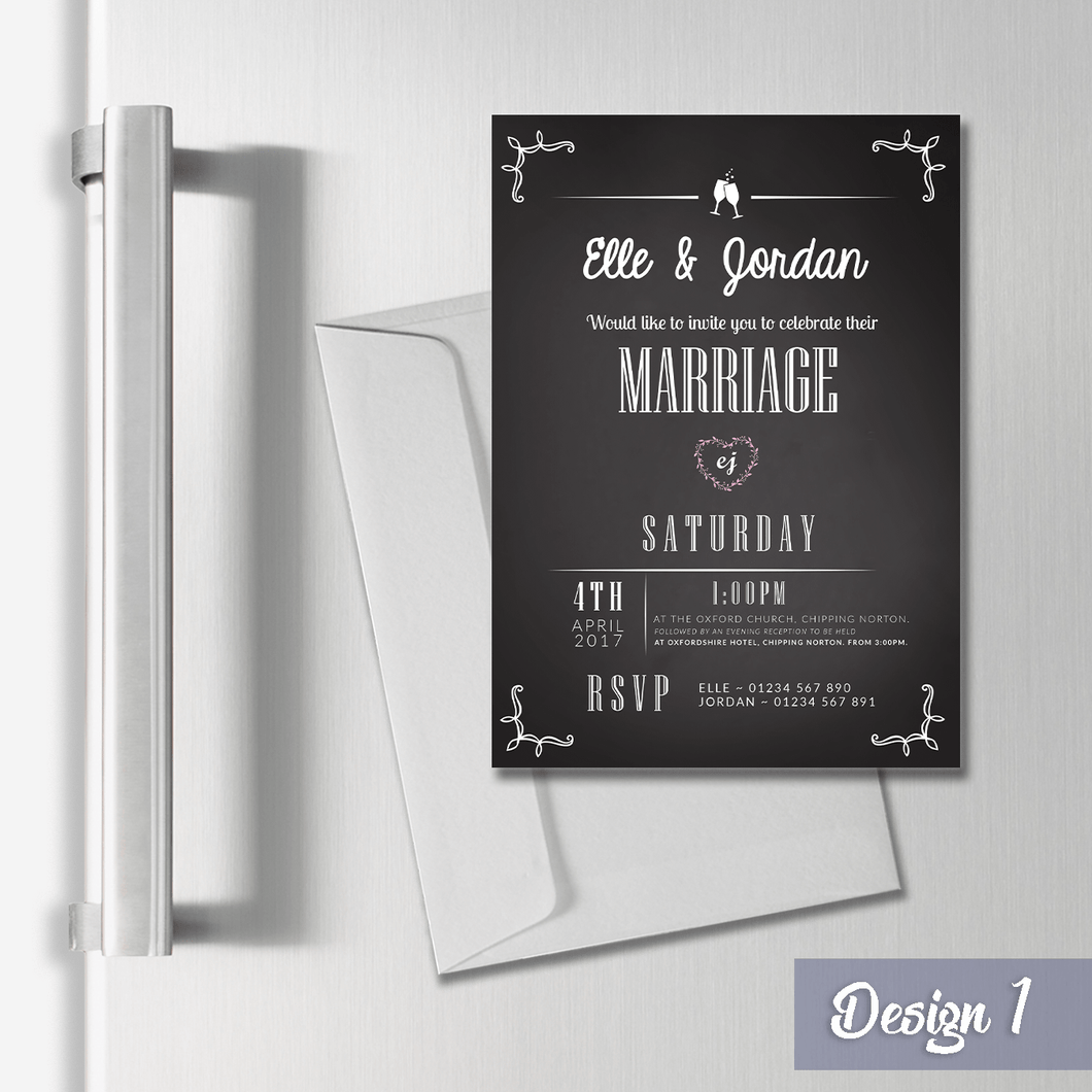 Aspire Designs Personalised Magnetic Wedding Invitations - A6 Fridge Magnets 1 / Yes