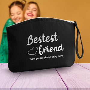 Aspire Designs Personalised Make Up Bag | Accessory Cosmetic Pouch Bag | Bestest Friend Theme Small / Black