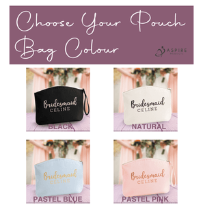 Aspire Designs Personalised Make Up Bag | Accessory Cosmetic Pouch Bag | Bridesmaid Name