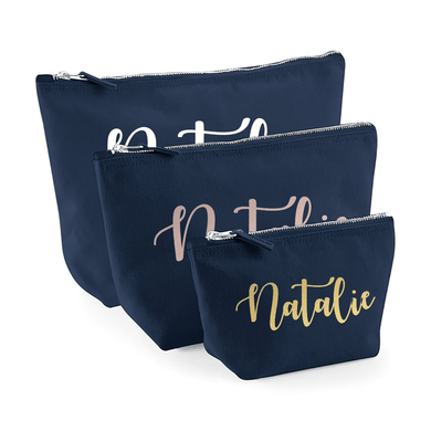 Aspire Designs Personalised Make Up Bag | Small, Medium or Large Name Accessory Cosmetic Bag